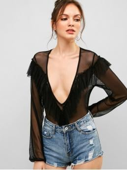Summer Ruffles and See Patchwork Long Plunging Sexy Club Ruffles Mesh Panel Low Cut Bodysuit