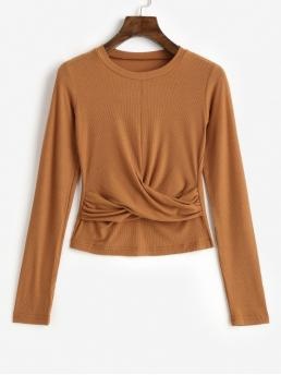 Autumn Solid Full Round Casual Twist Front Crop Solid Tee