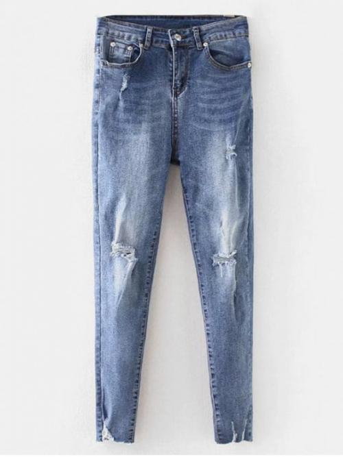 Fall and Winter Ripped Zipper Skinny Normal Destroy Casual Ripped Jeans