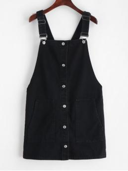 Spring and Summer No Solid Pockets Sleeveless Square Pinafore Mini Casual Corduroy Button Front Overall Dress