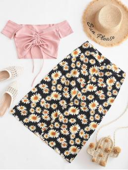 No Fall and Summer Button Floral Flat Button High Short Off A Fashion Beach Cinched Off Shoulder Ribbed Sunflower Two Piece Dress