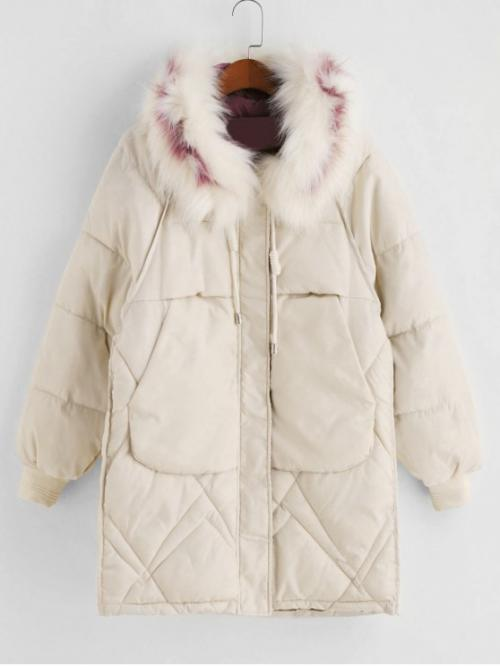 Winter No Nonelastic Pockets Others Hooded Full Long Wide-waisted Down Daily and Going Fashion Zip Up Fur Collar Pockets Parka Coat