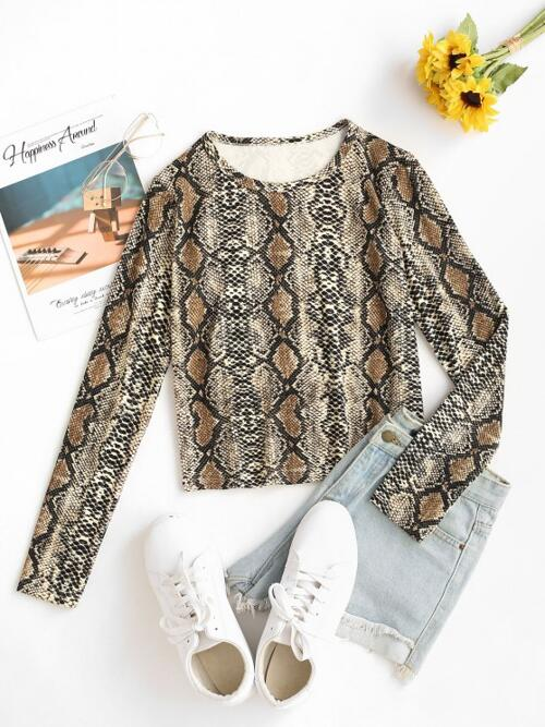 Affordable Full Sleeve Cotton,polyester Snake Print Deep Coffee Long Sleeve Top