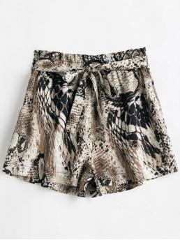 Yes Ruffles Snake Flat Elastic High Loose Fashion Snakeskin Print Belted Wide Leg Shorts