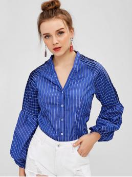 Autumn and Spring Pleated Striped Full Regular V-Collar Fashion Daily Button Up Pleated Panel Stripes Top