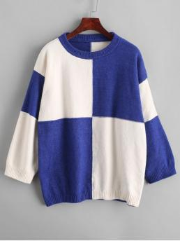 Autumn Others Nonelastic Full Drop Crew Regular Loose Casual Daily Pullovers Color Block Drop Shoulder Loose Sweater