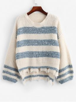 Autumn and Winter Slit Striped Elastic Full Drop Crew High Regular Fashion Daily Pullovers Two Tone Sharkbite Trim High Low Slit Sweater