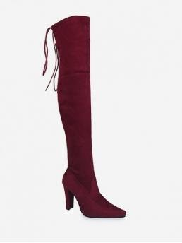 Elegant and Fashion and Trendy Suede Lace-Up Solid Chunky Pointed Over-the-Knee Fall and Spring and Winter Fashion For Plain Pointed Toe High Heel Thigh High Boots