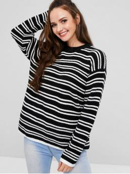 Full Sleeve Pullovers Polyacrylic Stripe D Sweater Discount