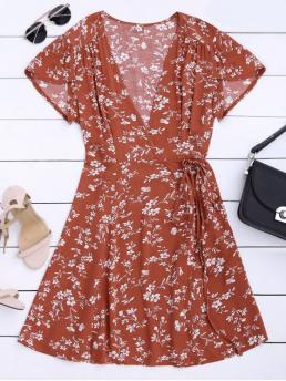 No Summer Floral Short V-Collar Mini A-Line Beach and Casual and Vacation Brief Floral Print Self Tie Wrap Dress