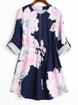 Fall No Floral Long Round Mini A-Line Causal Casual Half Zipper Cuff Roll Sleeve Floral Dress