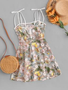 Womens Multi Floral Sleeveless Cotton,polyester Tie Shoulder Embroidered Sheer Mesh Dress