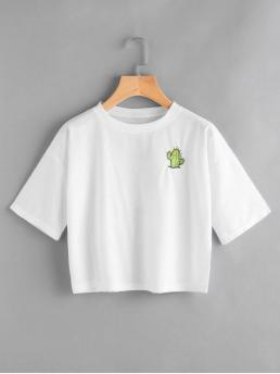 Summer Insect and Letter Short Round Short Fashion Back Logo Insert Embroidered Top