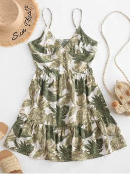 No Fall and Summer Nonelastic Leaf Button Sleeveless Spaghetti Mini A-Line Casual  and Day Fashion Leaves Buttoned Smocked Back Cami Dress