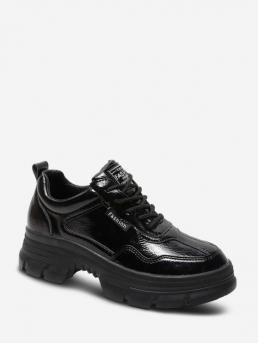 Spring/Fall PU Solid Lace-Up For Plain Faux Leather Chunky Heel Skate Shoes