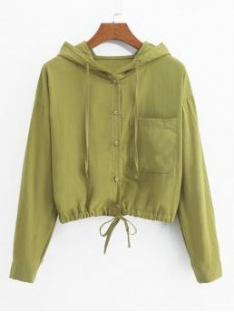 Nonelastic Autumn Front Solid Single Hooded Full Short Wide-waisted Casual Jackets Daily Front Pocket Drawstring Hem Hooded Jacket