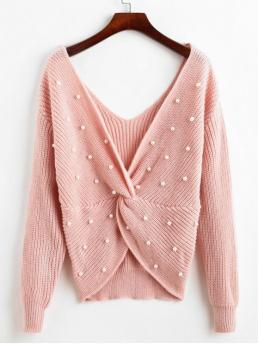 Autumn and Spring and Winter Pearls Others Elastic Full V-Collar Regular Regular Fashion Daily Pullovers Pullover V Neck Twist Front Faux Pearls Sweater