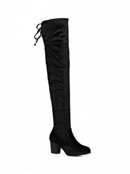 Spring/Fall and Winter Velvet Solid Zip Chunky Round 60CM Over-the-Knee Fashion For Lace Up Chunky Heel Zip Thigh Boots