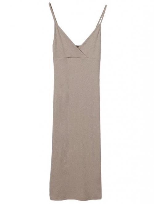 Summer No Solid Sleeveless Spaghetti Mid-Calf Sheath Day Casual Slip Surplice Slinky Tank Dress