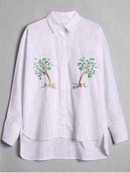 Autumn and Spring Plant Full Regular Shirt Fashion Casual Loose Tree Embroidered High Low Shirt