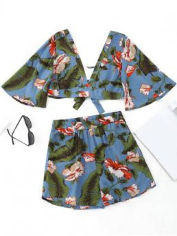 No Floral Flat Elastic High V Regular Casual and Going Bowknot Floral Cropped Top and High Waisted Shorts