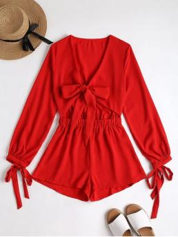 No Bowknot Solid Regular Casual Plunging Neck Bowknot Cut Out Romper