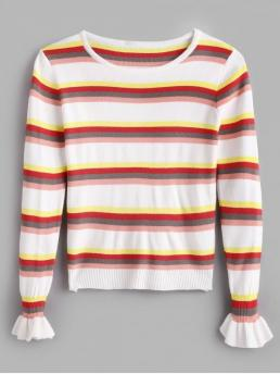 Striped Micro-elastic Full Flare Round Regular Regular Casual Pullovers Bell Sleeves Striped Knitted Top