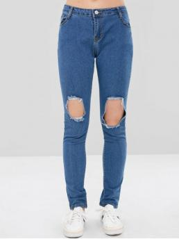 Fall and Spring Hole and Pocket and Ripped Skinny Normal Medium Fashion Cut Out Distressed Skinny Jeans