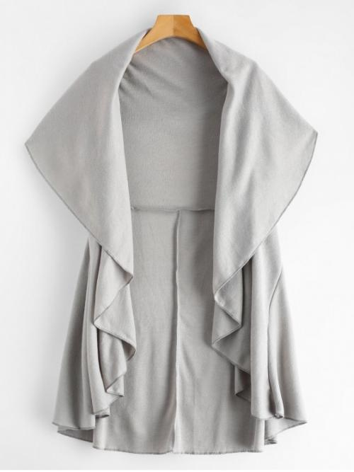 Autumn and Spring and Winter No Solid Turn-down 1/2 Long Wide-waisted Long Daily and Going Fashion Open Front Cape Coat