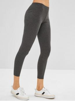 Fall and Spring and Winter Solid Elastic Mid Daily and Home Casual Ribbed Knit Mid Rise Leggings