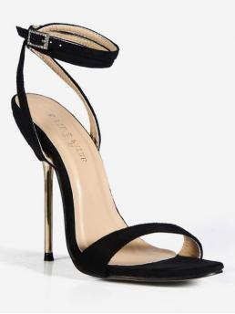 Synthetic Rubber Solid Buckle Stiletto Ankle Party Fashion For Stiletto Heel Rhinestone Decoration Sandals