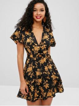 Yes Spring Floral Ruffles Short V-Collar Mini Surplice A-Line Day and Vacation Casual Floral Print Ruffles Belted Surplice Dress