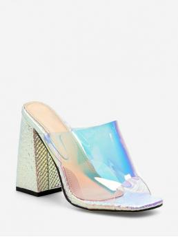 Summer PU Rubber Others Slip-On Chunky Slides Casual and Club and Daily Fashion and Sexy For Chunky Heel Stylish Transparent Sandals