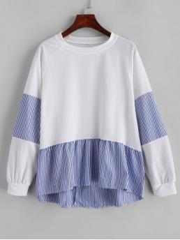 Autumn Striped Full Regular Raglan Crew Sweatshirt Striped Patched Raglan Sleeves High Low Sweatshirt