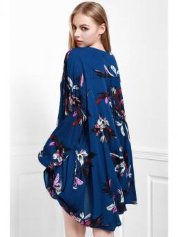 Fall No Floral Long Mini Round Straight Casual Floral Keyhole Neckline Long Sleeve Dress