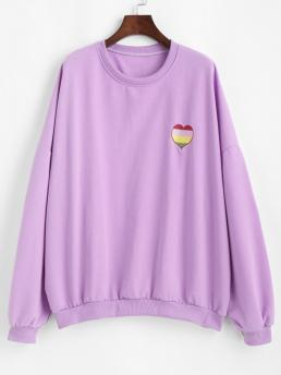 Full Sleeve Cotton,polyester Purple Daffodil Regular Oversize Colorful Heart Letter Embroidered Sweatshirt Pretty
