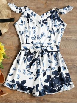 Yes Ruffles Others Regular Casual Leaves Print Ruffles Belted Cami Romper