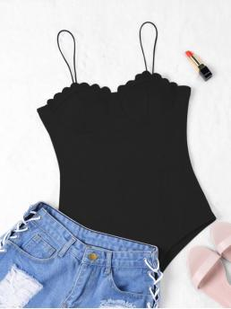 Fall and Spring and Summer Solid Fashion Scalloped Push Up Bodysuit