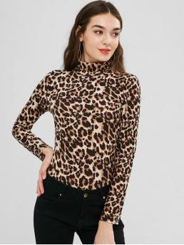 Fall and Spring Leopard Elastic Long Turtlecollar Fashion Daily Turtleneck Leopard Bodysuit
