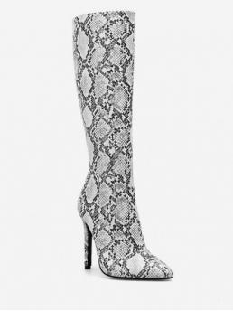 PU Zip Snake 11CM Stiletto Pointed Knee-High Winter Fashion For Snake Print Heeled Knee High Boots