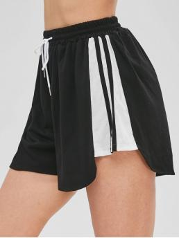 Striped Pleated Elastic High Loose Casual High Waisted Drawstring Pull On Shorts