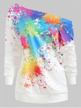Autumn and Spring and Winter Print Elastic Full Regular Sweatshirt Paint Splash One Shoulder Sweatshirt