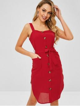 Summer Yes Solid Pockets Sleeveless Square Knee-Length Casual and Going Belted Pockets Button Up Dress