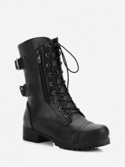 Vintage PU Zip Solid Low Round Mid-Calf Spring/Fall Western For Retro Side Zipper Buckle Decoration Boots