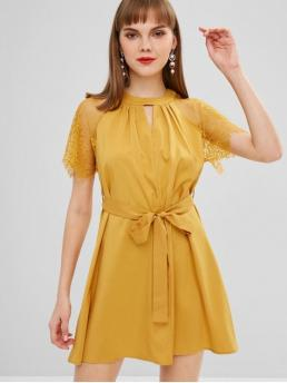 Fall and Spring and Summer Yes Solid Cut Short Round Mini Casual A Keyhole Lace Sleeves Dress