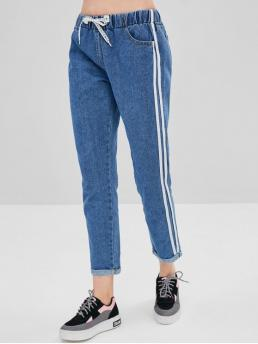 Fall and Spring Pocket Drawstring Straight Ninth Medium Denim Casual Side Striped Drawstring Cuffed Jeans