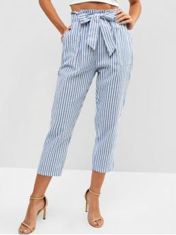 Spring and Summer Yes Elastic Pencil Striped Pockets Regular High Fashion Striped High Rise Belted Paperbag Waist Pants