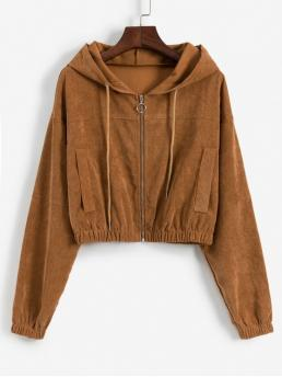 Autumn Solid Zipper Hooded Full Short Wide-waisted Casual Jackets Daily Faux Pockets Corduroy Crop Hooded Jacket