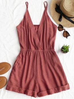 Summer No Solid Sleeveless Spaghetti Regular Fashion Going Rolled Up Hem Cross Front Romper