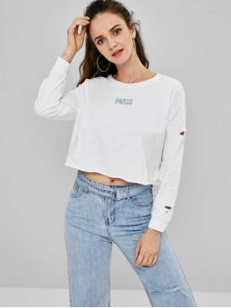 Autumn and Spring Letter Full Sweatshirt Cutout Embroidered Sweatshirt